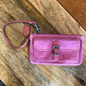 COACH Pink Suede Small Wristlet - Used